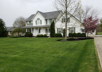 Tim Weaver of Mainville, Ohio Loves His New Concrete Patio/Landing, Paver Walkway, and Mulch. See Pics…
